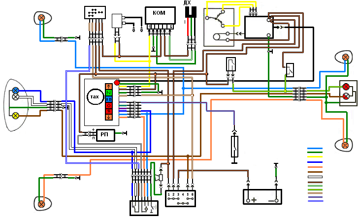 Вот наконец-то нарисовал схему проводки.  Проводка нарисована с БСЗ(бесконтактная система зажигания).